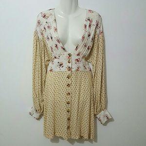 Free People Ivory Combo dress Size-L